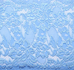 Blue lace with pattern in the manner of colour on white backgrou
