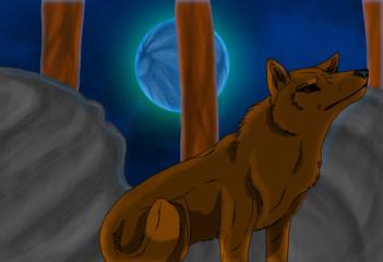 Wolf under Blue Moon