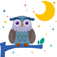 Old owl against a star night sky