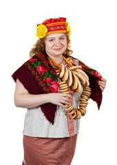 woman in Russian traditional clothes