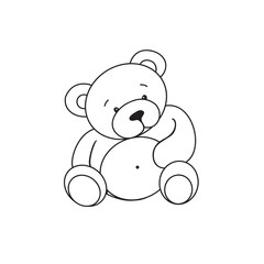 Outlined bear toy vector illustration.Isolated on white