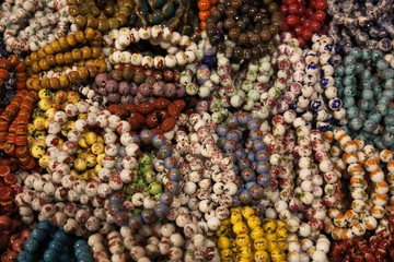Colorful bracelets.Temple street market. Hong Kong.