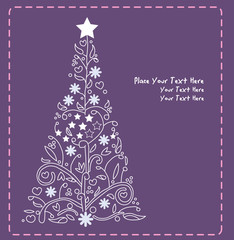 christmas tree vector purple green