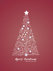 tree xmas with red background vector