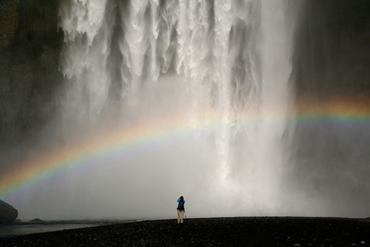 Waterfall with rainbow in Iceland