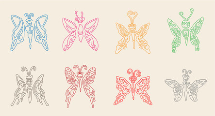 butterfly set doodle