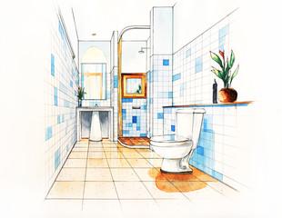 Bathroom Decorate Sketching design