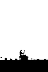 chimney sweep silhouette on the rooftop against white