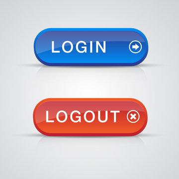Set of login logout buttons - red, blue