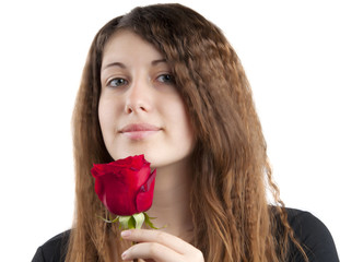 girl with rose isolated