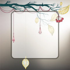 Steel gray background with tree branch and last leaves