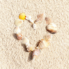 Stock Photo:.heart made with shells on sand