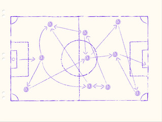 Soccer tactics on a sheet of paper, handwritten, free copy space