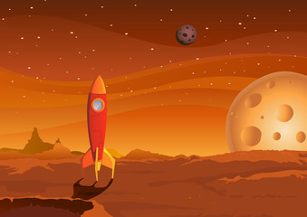 Poster Cosmos spaceship-on-martian-landscape