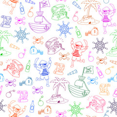 seamless pattern with pirate themed doodles
