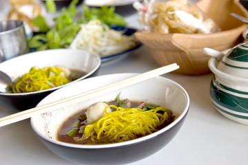 closeup of satay beef noodle soup, thai food
