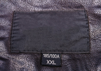 The label on the leather jacket