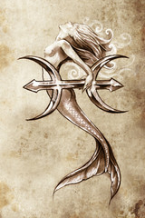 Wall Mural - Tattoo art, sketch of a mermaid, pisces vintage style