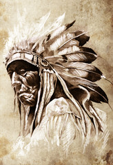 Wall Mural - Sketch of tattoo art, indian head, chief, vintage style