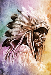 Wall Mural - Sketch of tattoo art, indian head