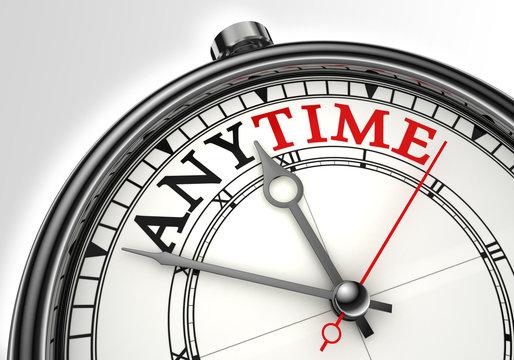 anytime concept clock closeup