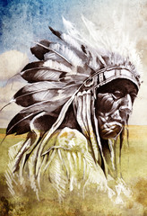 Wall Mural - Sketch of tattoo art, indian head over artistic background