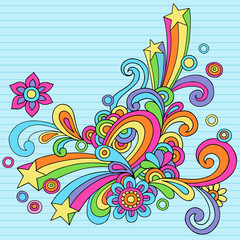Flower Power Groovy Psychedelic Notebook Doodle Vector