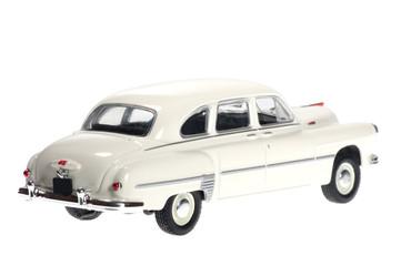 Fototapeta White retro car on white bacground. obraz
