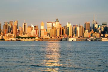 New York City Manhattan at sunset over Hudson River