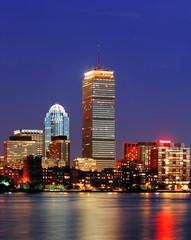Fototapete - Boston city skyline at dusk