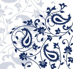 traditional paisley floral pattern , textile swatch, India