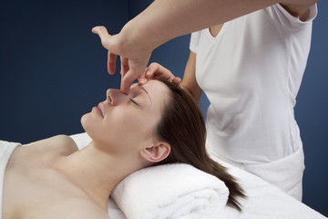 massage of sinus and forehead