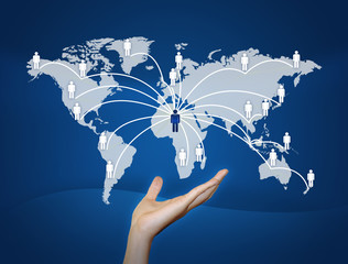 hand Global Communication.connected World concept.