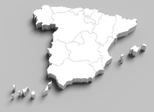 3d Spain white map on grey