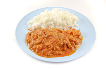 Massaman curry with rice on white background