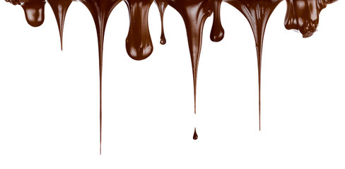 Hot chocolate streams dripping isolated on white
