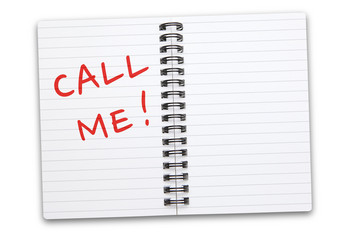 Call Me! written on white notepad