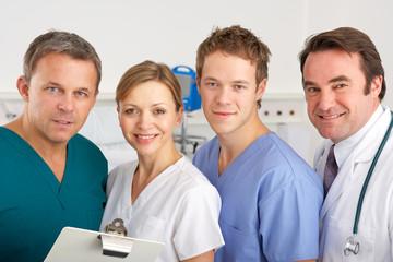 Portrait American medical team on hospital ward