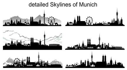 Wall Mural - München Skyline Silhouette