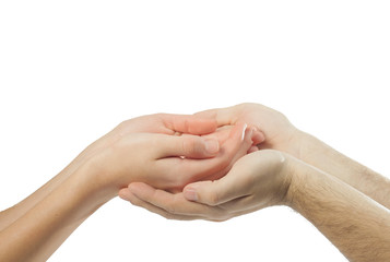 two people take hands together