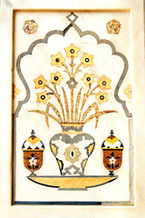 Wall Mural - Details of polished marble surface is covered by stone inlay.