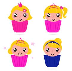 Cute little vector princess / girls cakes set