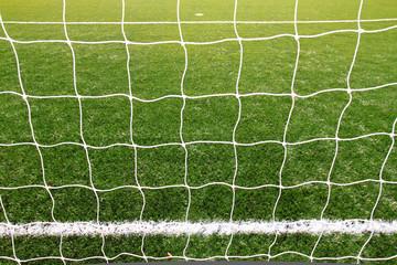 soccer net on green grass