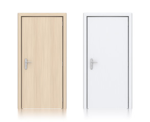 Wooden light and white painted doors.