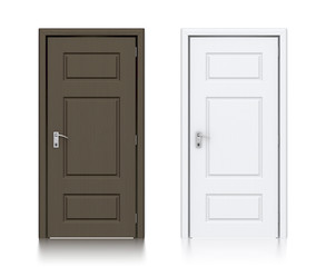 Wooden dark and white painted doors.