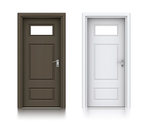 Wooden dark and white painted doors with windows.