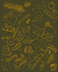 Love theme set illustration