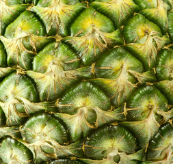 Close up on ripe pineapple texture