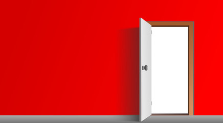 Tür mit roter Wand