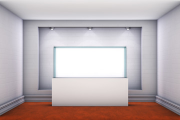 3d glass showcase and niche with spotlights for exhibit
